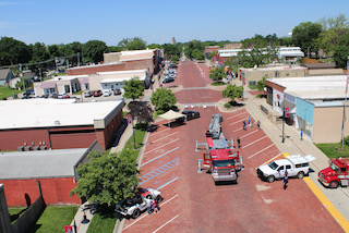 Library summer reading kick off event - High Street from the bucket truck